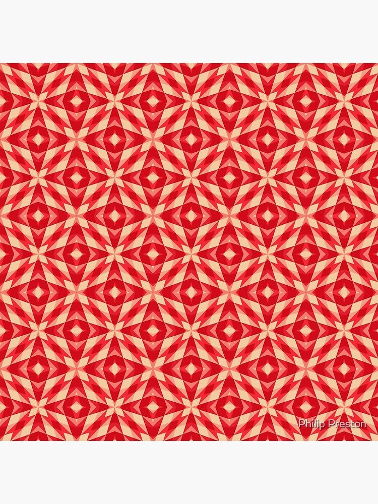 Modern Geometric Red Orange Pattern Design 1555 by prestonphoto