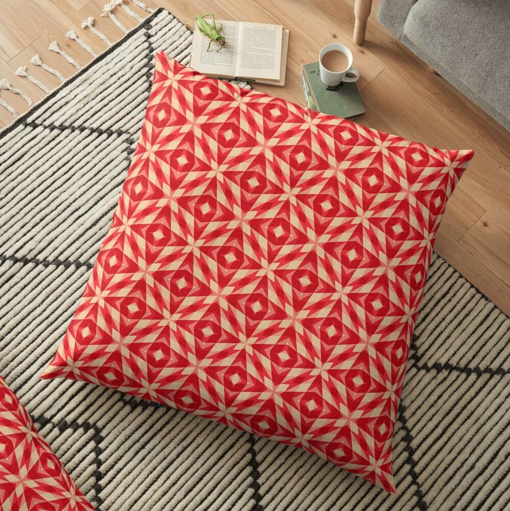 Modern Geometric Red Orange Pattern Design 1555 Floor Pillow