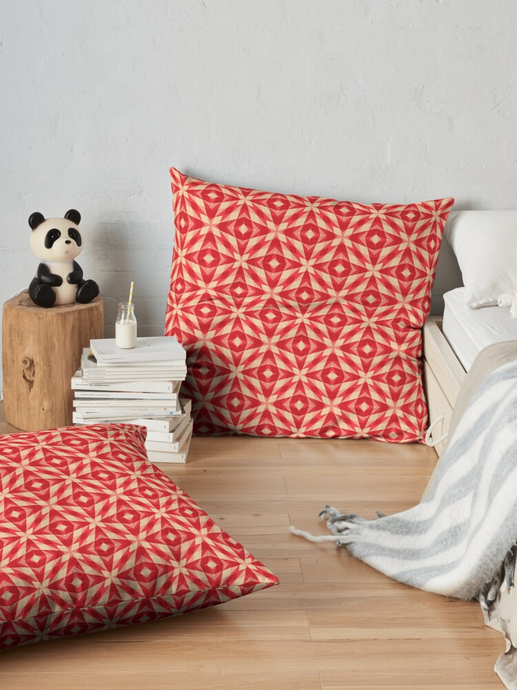 Alternate view of Modern Geometric Red Orange Pattern Design 1555 Floor Pillow