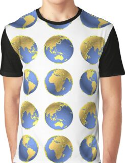 Earth globes vector pattern Graphic T-Shirt
