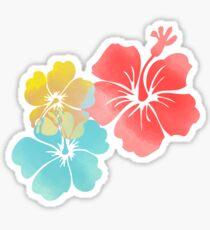 Hawaii Hibiscus, Orange, Yellow and Blue  Sticker