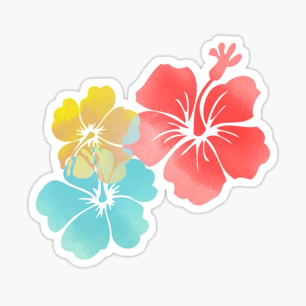 Hawaii Hibiscus, Orange, Yellow and Aqua Blue  Sticker