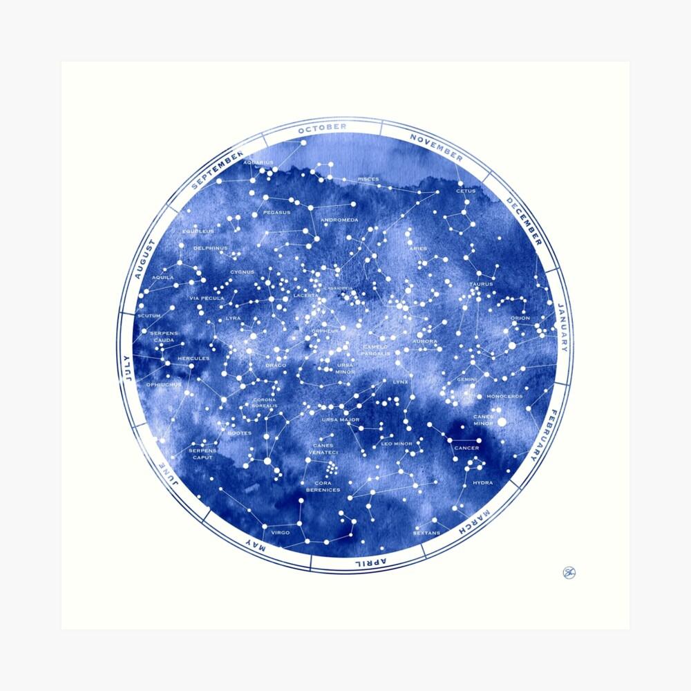 Nördliche Sternkarte Kunstdruck