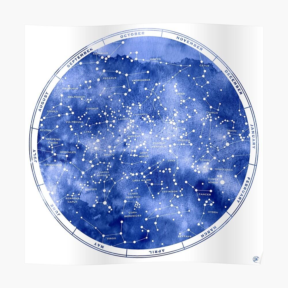 Nördliche Sternkarte Poster