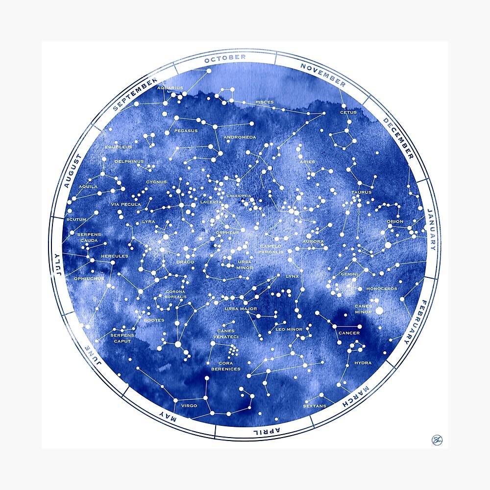 Nördliche Sternkarte Fotodruck