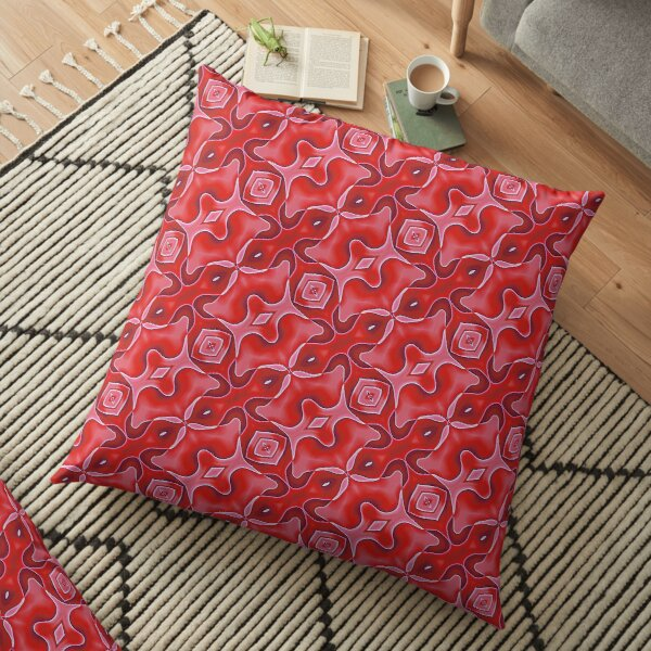 Modern Abstract Geometric Red Pink Grey Pattern Design 1653 Floor Pillow