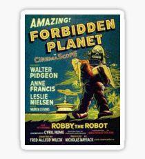 Weinlese-Sciencefiction-Film verbotener Planet, Roboter Sticker