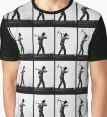 Eadweard Muybridge - Pick Axe Photographic Motion Study Graphic T-Shirt