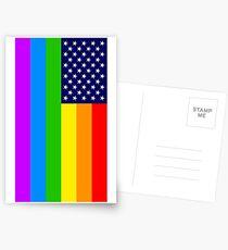 Gay USA Rainbow Flag - American LGBT Stars and Stripes Postkarten