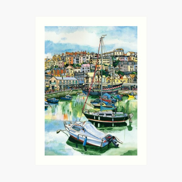 Brixham Harbour with Boats Art Print