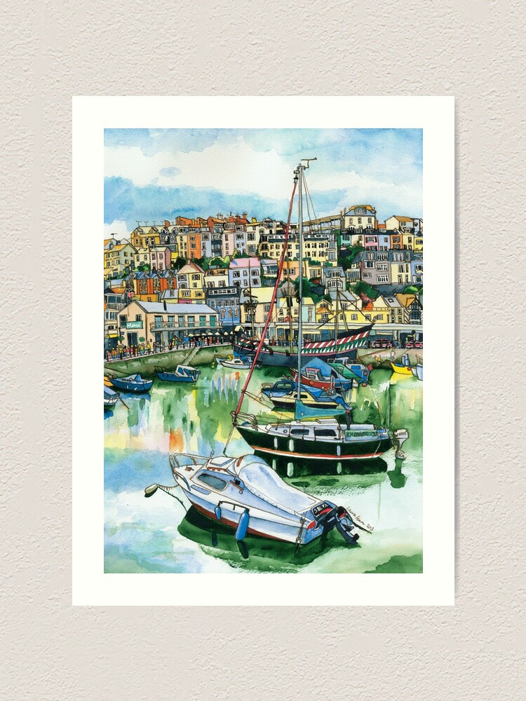 Alternate view of Brixham Harbour with Boats Art Print