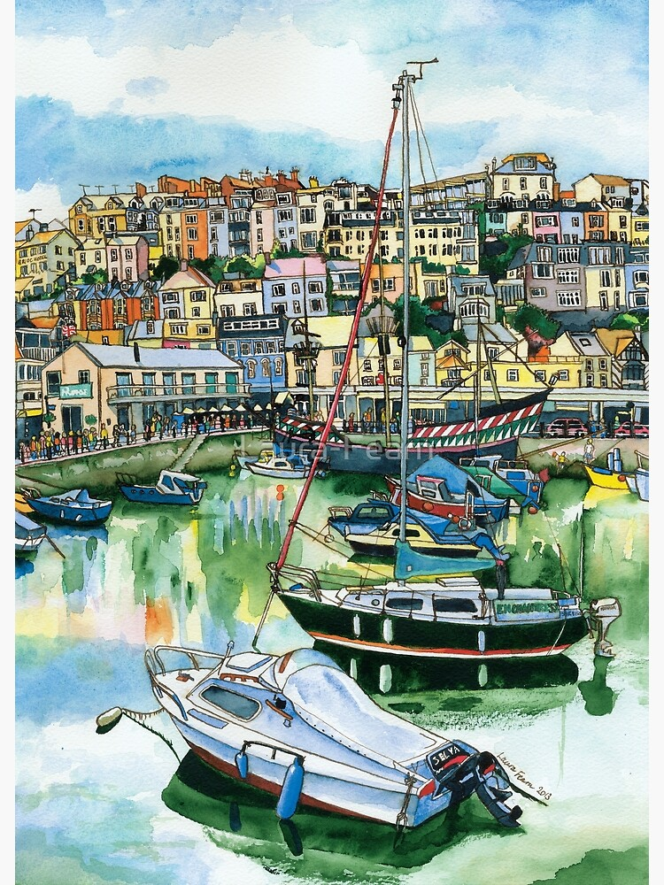 Brixham Harbour with Boats by Laura-Fearn