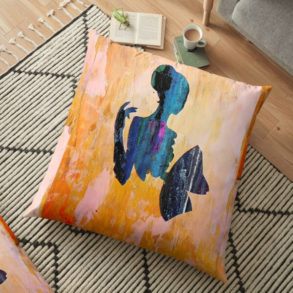 Girl With A Fan & Orange Background Floor Pillow
