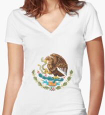 Mexico Coat of Arms  Women's Fitted V-Neck T-Shirt