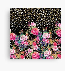 Modern watercolor spring floral and gold dots pattern Canvas Print