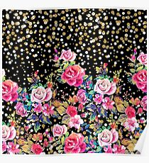 Modern watercolor spring floral and gold dots pattern Poster