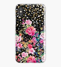 Modern watercolor spring floral and gold dots pattern iPhone Case/Skin