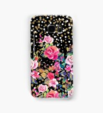 Modern watercolor spring floral and gold dots pattern Samsung Galaxy Case/Skin