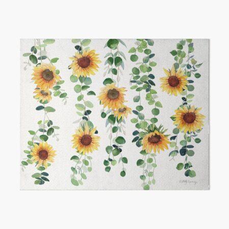 Eucalyptus and Sunflowers Garland Art Board Print