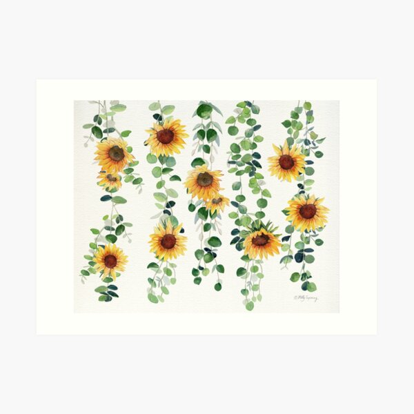 Eucalyptus and Sunflowers Garland Art Print