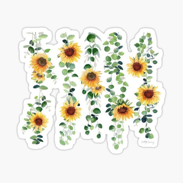 Eucalyptus and Sunflowers Garland Sticker