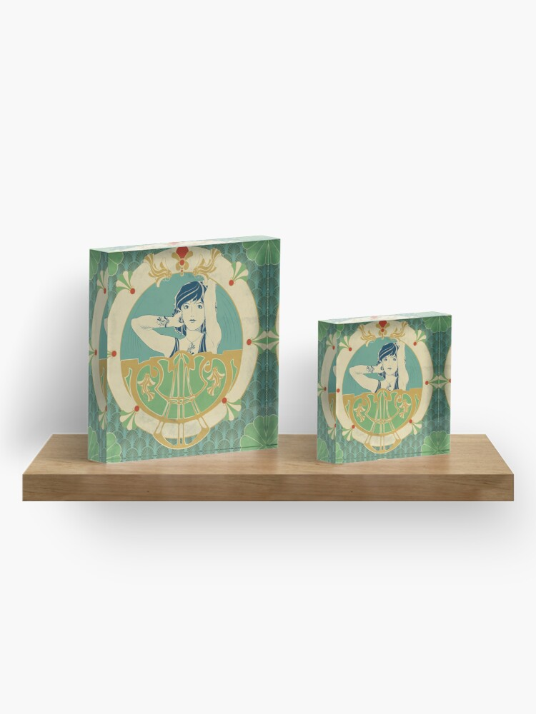 Bloc acrylique ''Parure Poisson bleu - Illustration Art Nouveau': autre vue