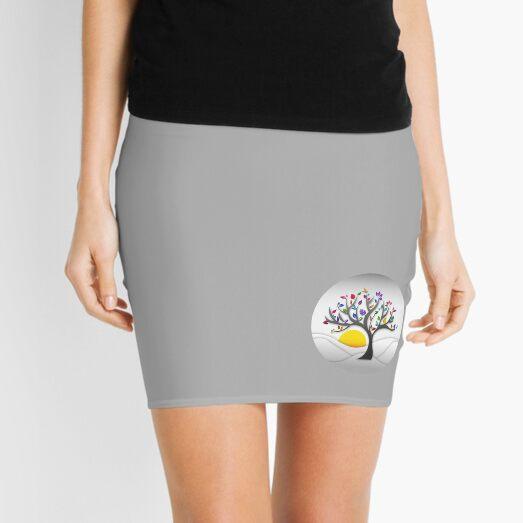 Modern, colourful tree art structure - aesthetic, artistic, simple and elegant - rainbow multicolour on soft grey Mini Skirt