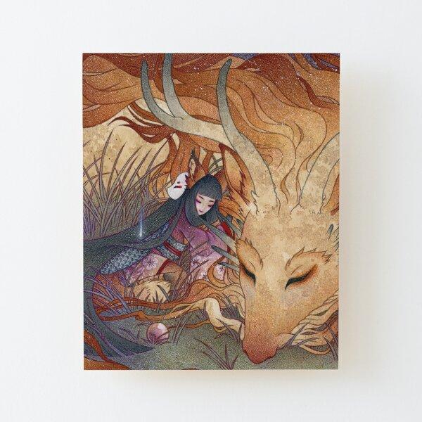 Slumber - TeaKitsune Dragon Fox Wood Mounted Print