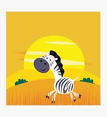 Illustration of cute Zebra in Nature Photographic Print