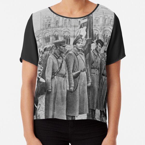 Military parade: Москва. Красная площадь. 1918 год. Рогожско-Смоленский пехотный полк. Chiffon Top