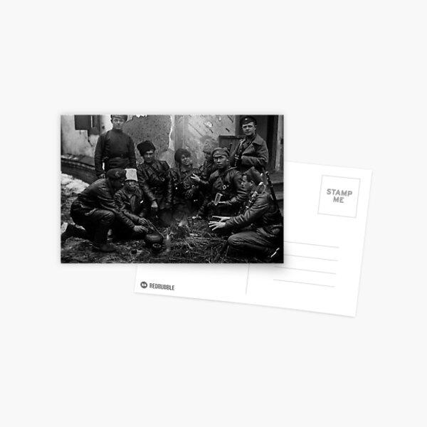 Russian Civil War: Обед красноармейцев у костра Южный фронт Дата съемки: 1919 год Postcard