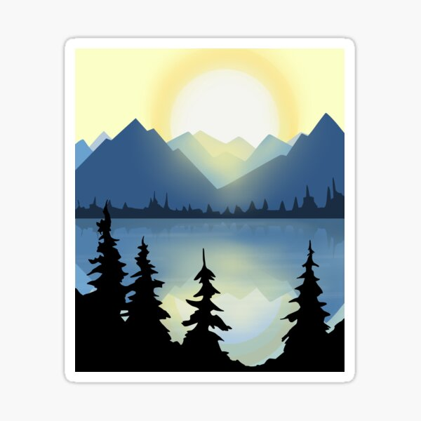 Mountain View Lake Sticker