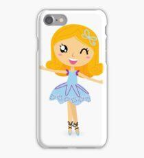 Cute dancing little ballerina girl. Vector cartoon Illustration iPhone Case/Skin