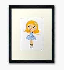 Cute dancing little ballerina girl. Vector cartoon Illustration Framed Print