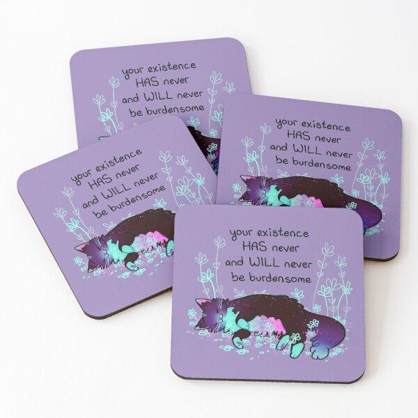"""Your Existence"" Neon Sleepy Kitty Coasters (Set of 4)"