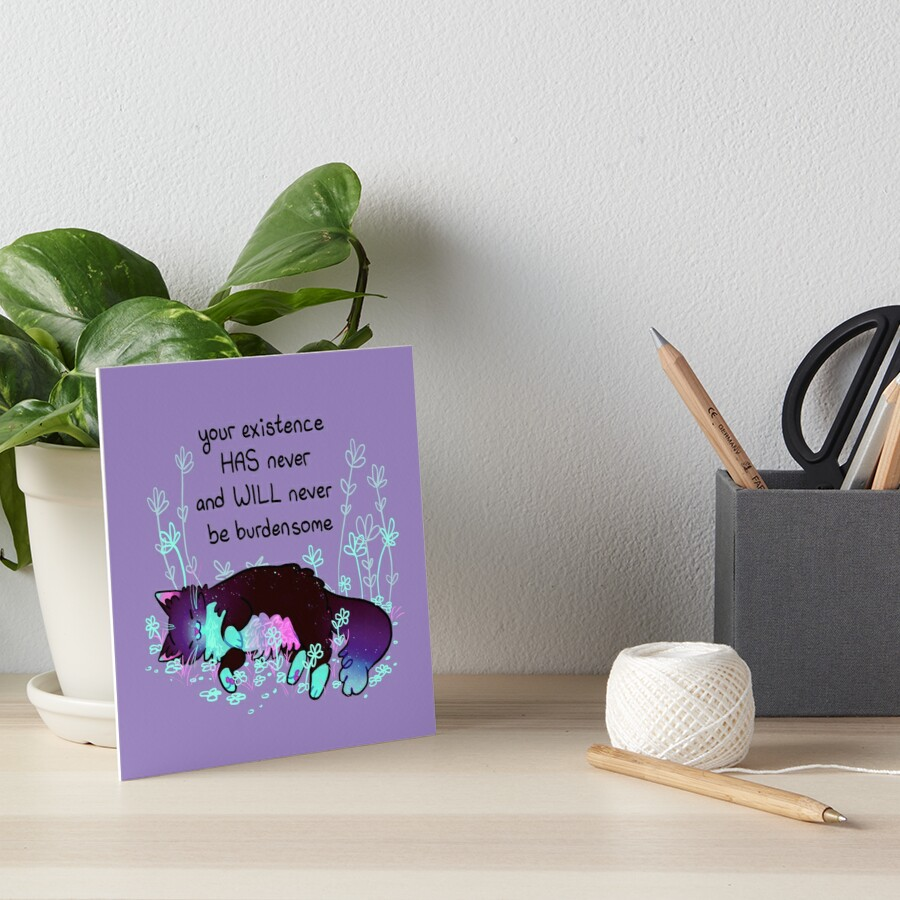 """Your Existence"" Neon Sleepy Kitty Art Board Print"