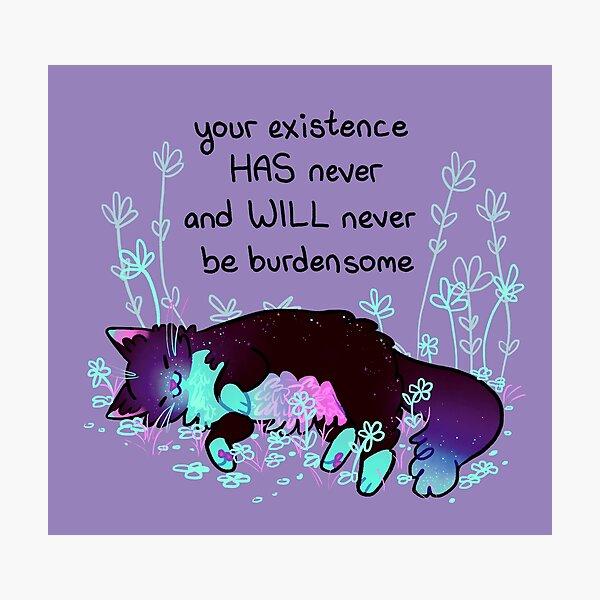 """Your Existence"" Neon Sleepy Kitty Photographic Print"