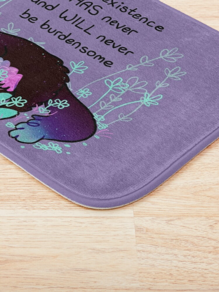 """Alternate view of """"Your Existence"""" Neon Sleepy Kitty Bath Mat"""