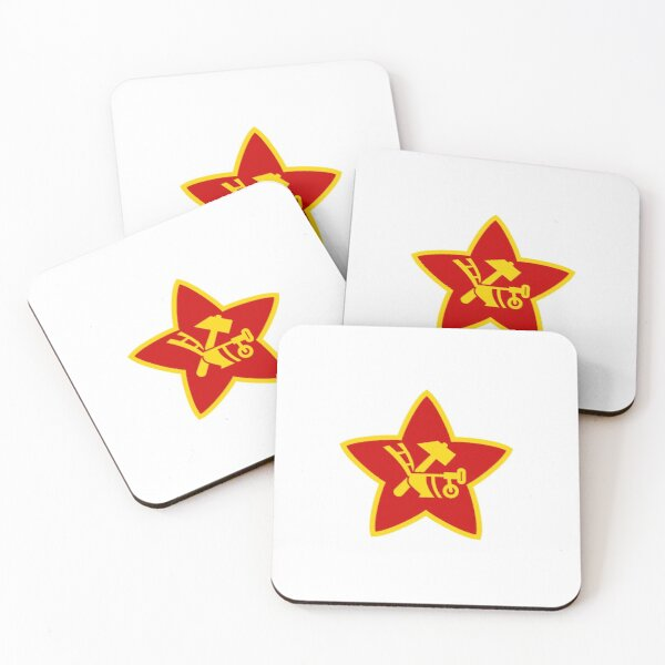 Soviet Red Army insignia used on Hat Badges and Flags Coasters (Set of 4)