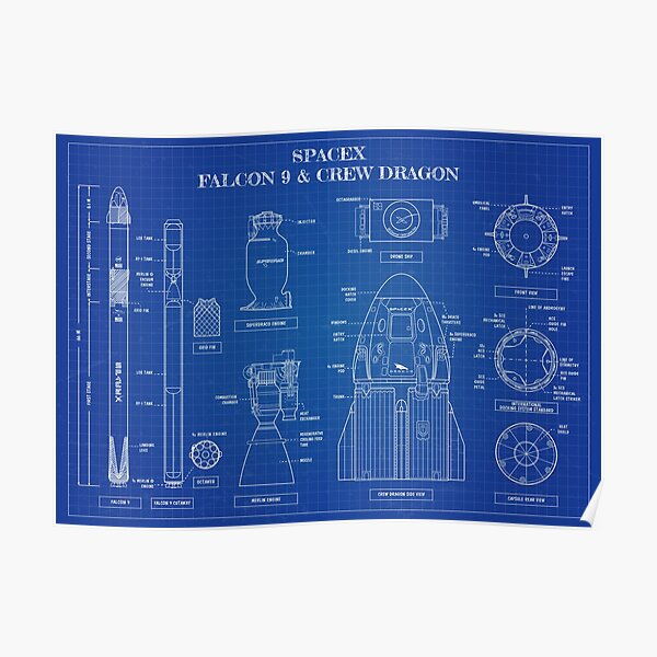 SpaceX: Falcon 9 and Crew Dragon (Blueprint-English) Poster