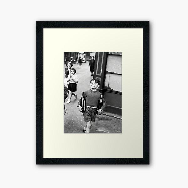 Little Boy with Bottles of Wine, Black and White Vintage Wall Art Framed Art Print