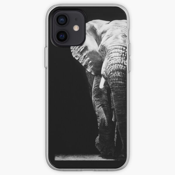 African Elephant Black and White Artwork iPhone Soft Case