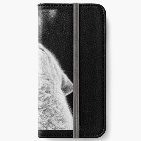 Arctic Wolf Black and White Art iPhone Wallet