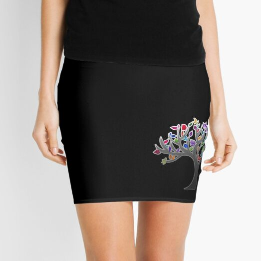 Modern, colourful tree art structure - aesthetic, artistic, simple and elegant - rainbow multi colour Mini Skirt