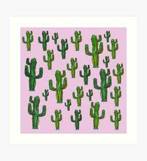 Pink Cactus Print Art Print