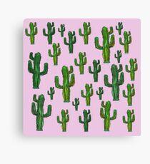 Pink Cactus Print Canvas Print
