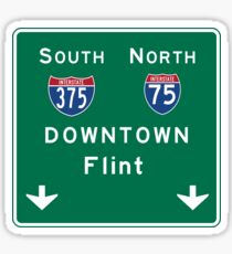 Flint, MI Downtown Road Sign, USA Sticker