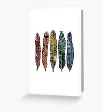 boho rainbow feathers Greeting Card