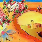 Desert Bridge Abstract with Flowers Orange Multi by Julia Woodman