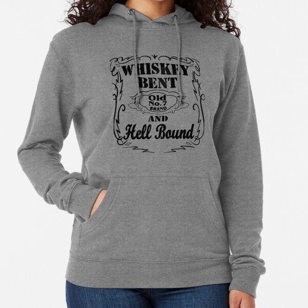 Whiskey Bent Hoodie  Crop Pullover Sweatshirt  Skull  Whiskey Glass  Bourbon Lover Gift